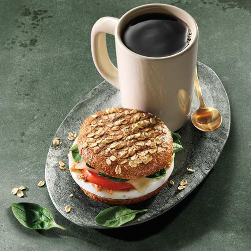 Turkey Sausage, Egg White & Spinach Breakfast Power Sandwich with Coffee