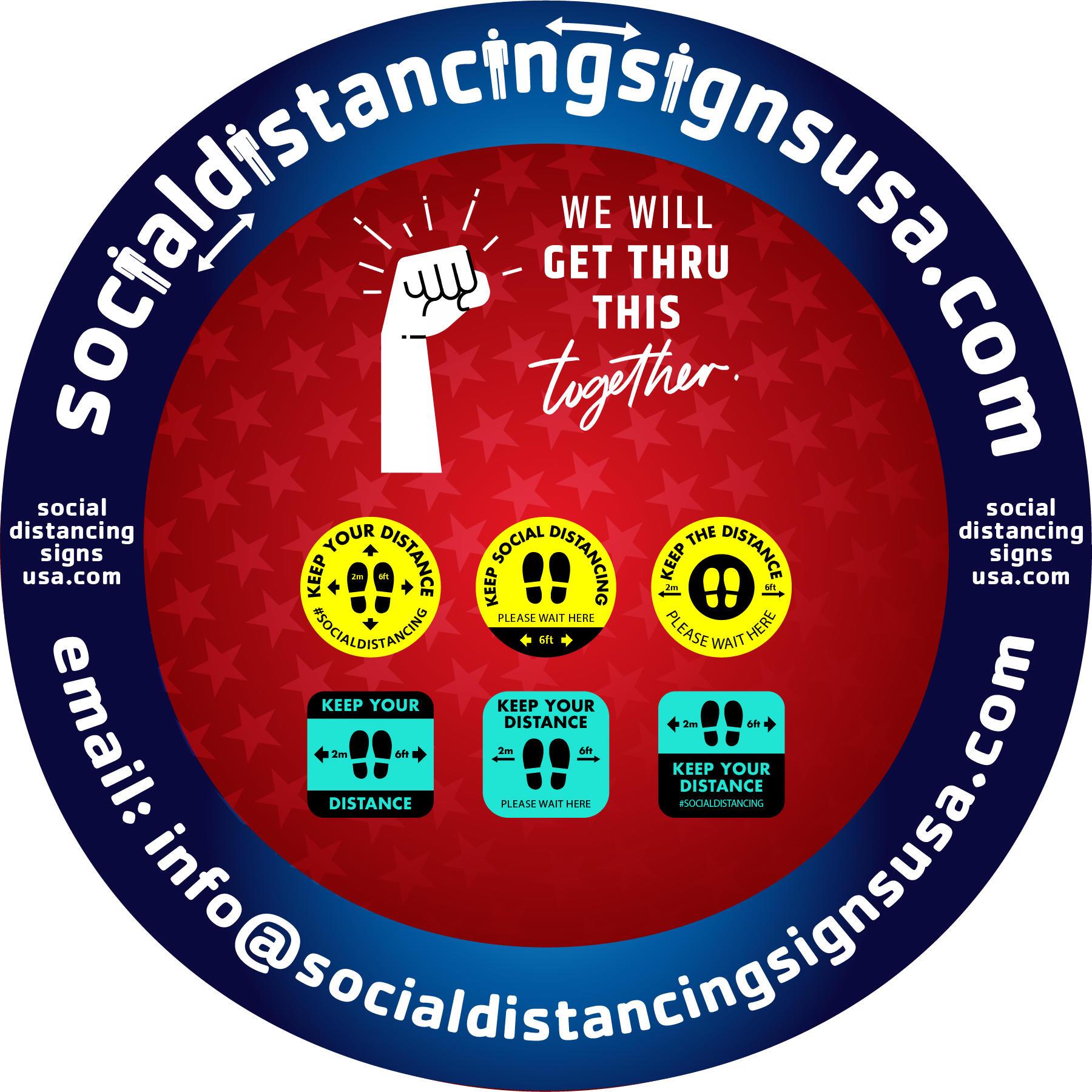 Social Distancing Signs USA
