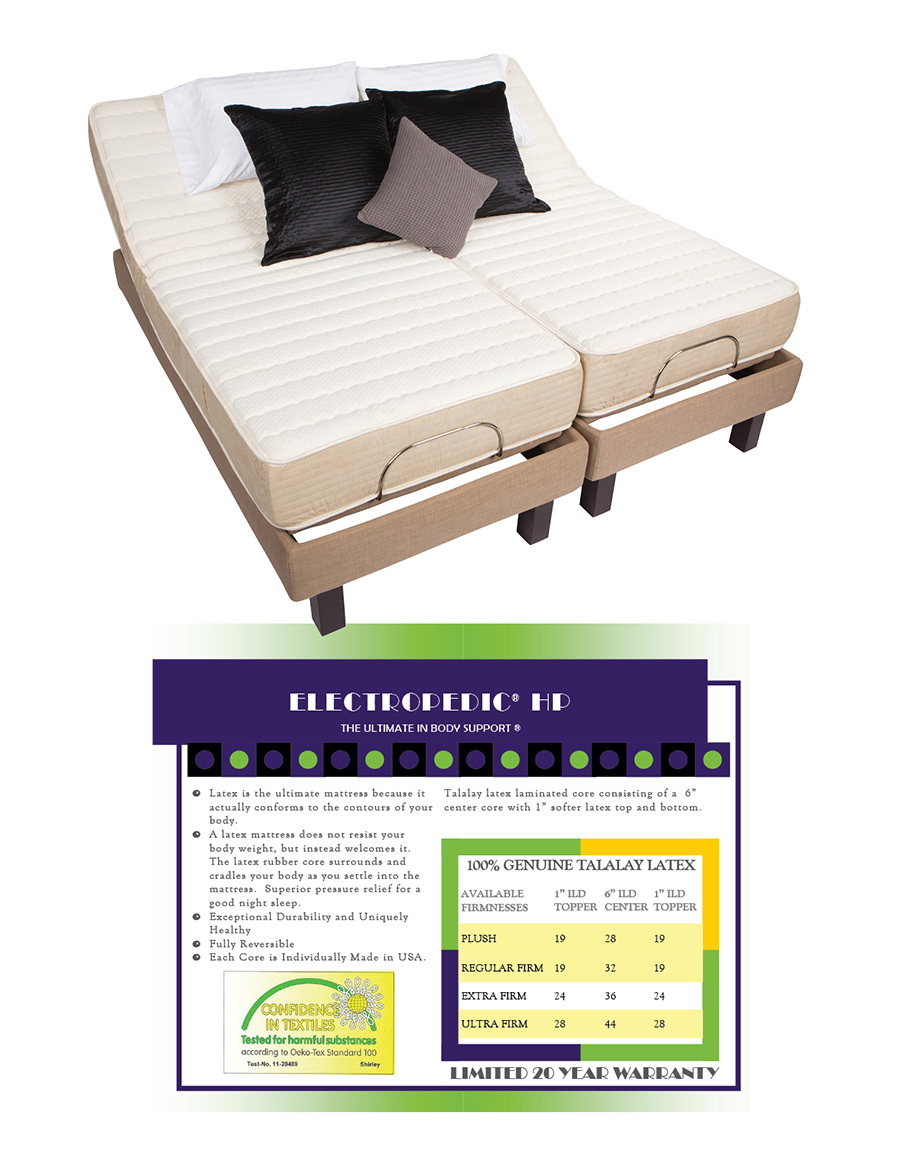 Houston Adjustable Beds are available in Twin, Full, Queen, King and Split Dual King and Split Dual King. The Factory's for ELECTRIC HEALTHCARE Adjustable Beds are Electropedic (WH1, WH2 and WH3), Leggett & Platt (Prodigy and S-Cape II), Reverie (8Q, 7S, 5D and 3E), Flex-A-Bed (3-motor, high-low), Ergomotion (100, 400, 500, 600), Med-Lift and Primo. Select an AdjustableBed Mattress for your personal use, and take a health break: Air, Innerspring, Memory Foam and Latex Foam.