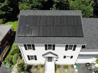 Solar panel installation for a house in Massachusetts.