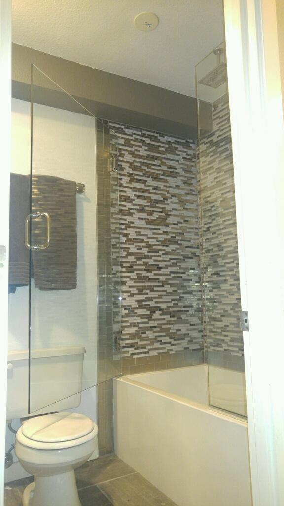This is a finished shower door Tim completed on 10/21/16. Our customer was very happy :)
