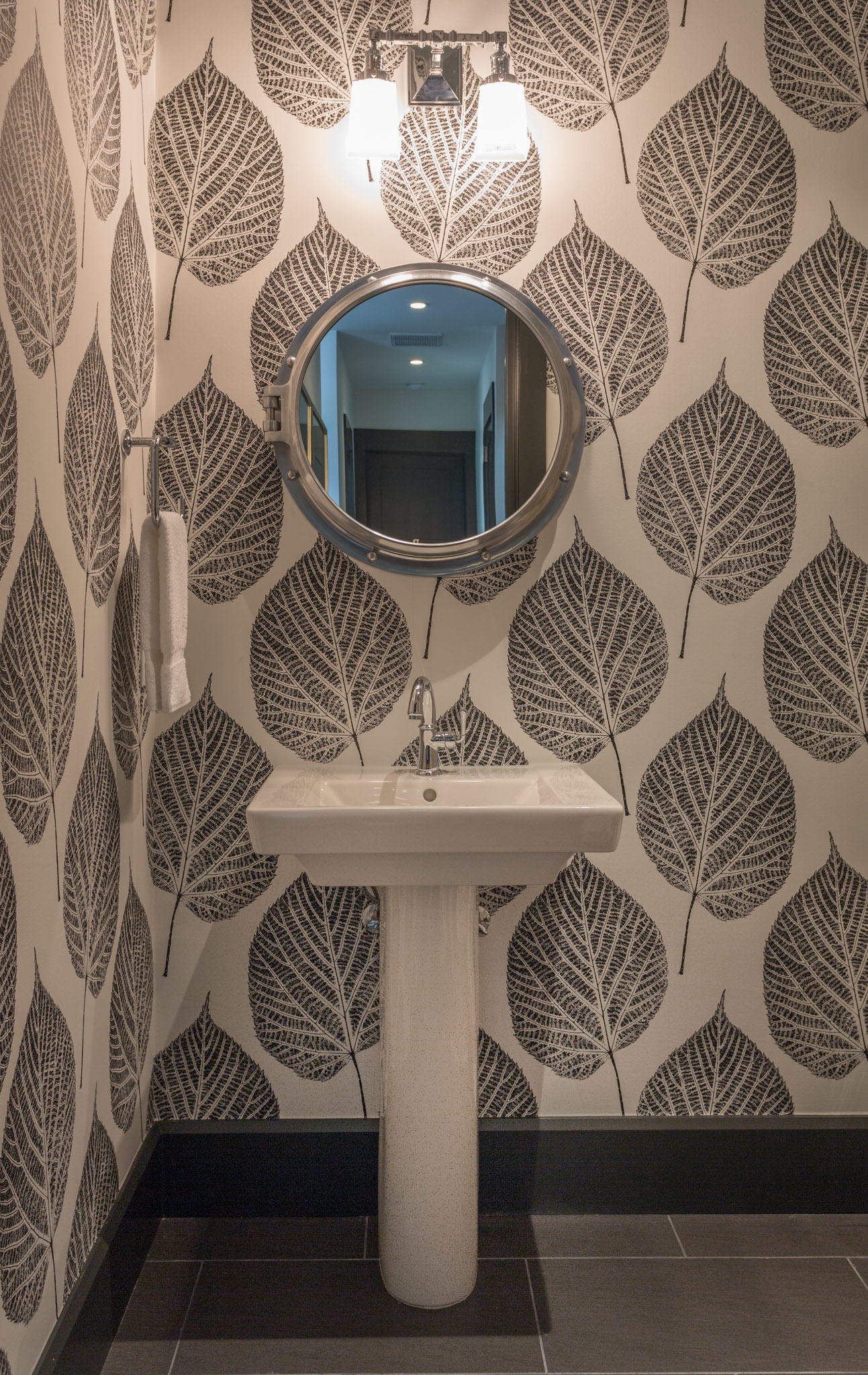 A Fun, Bold Pattern Wallpaper Adds A Contemporary Whimsy To This Powder  Room By Pineapple