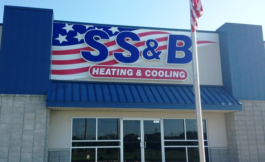 S S & B Heating and Cooling Springfield Missouri store front.