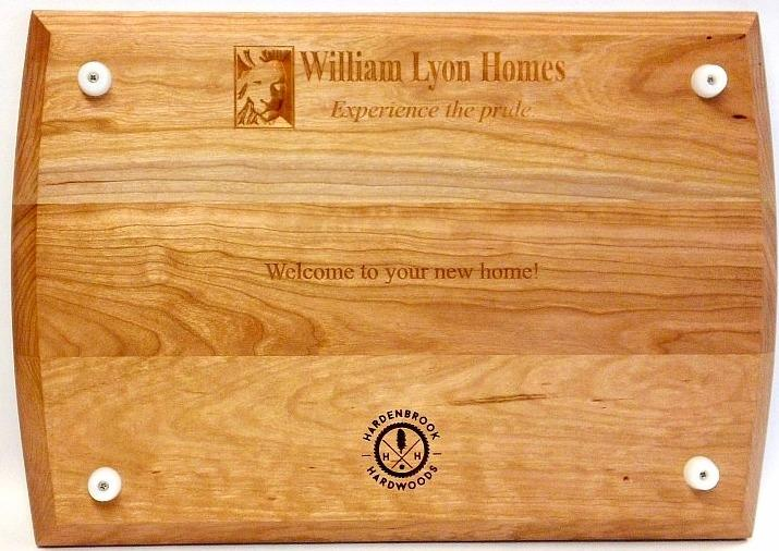 The back of our chef board can be personalized to your business. Most of our boards include the non-skid silicone, food grade feet.