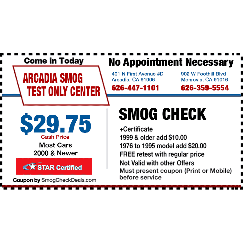 Arcadia Smog Test Only Center