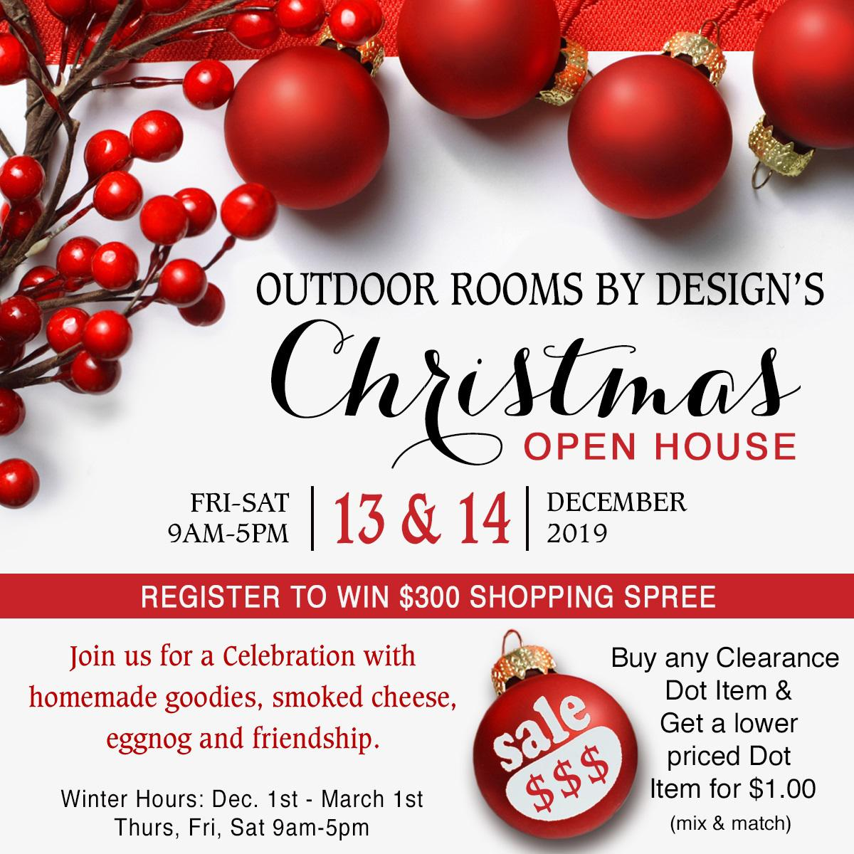 Christmas Open House: Dec 13 & 14. Join us for a Celebration with homemade goodies, smoked cheese, eggnog, and friendship.