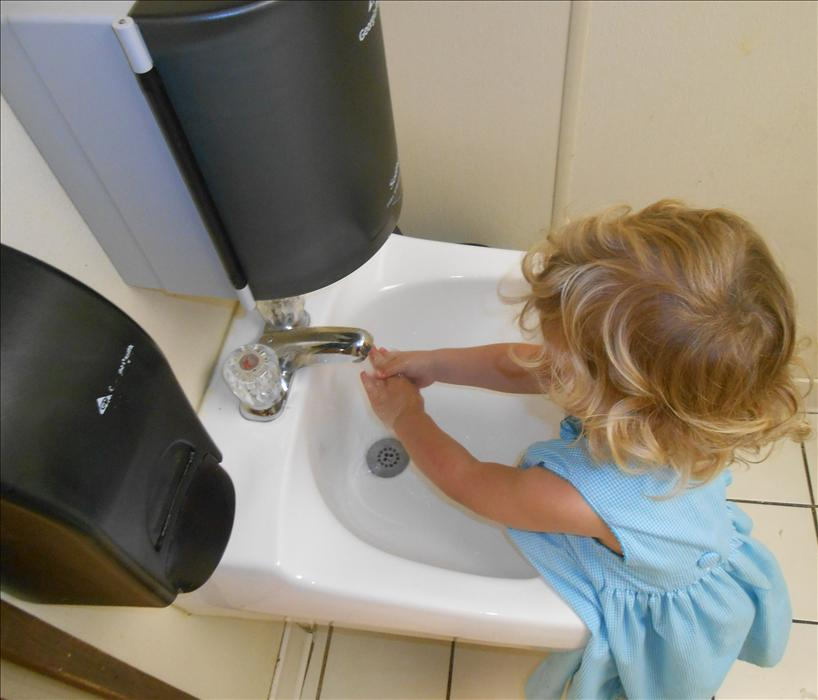 This is What Learning Looks Like: Developing life skills in learning the proper hand-washing procedures.