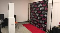 Step & Repeat backdrop with Open Photo Booth