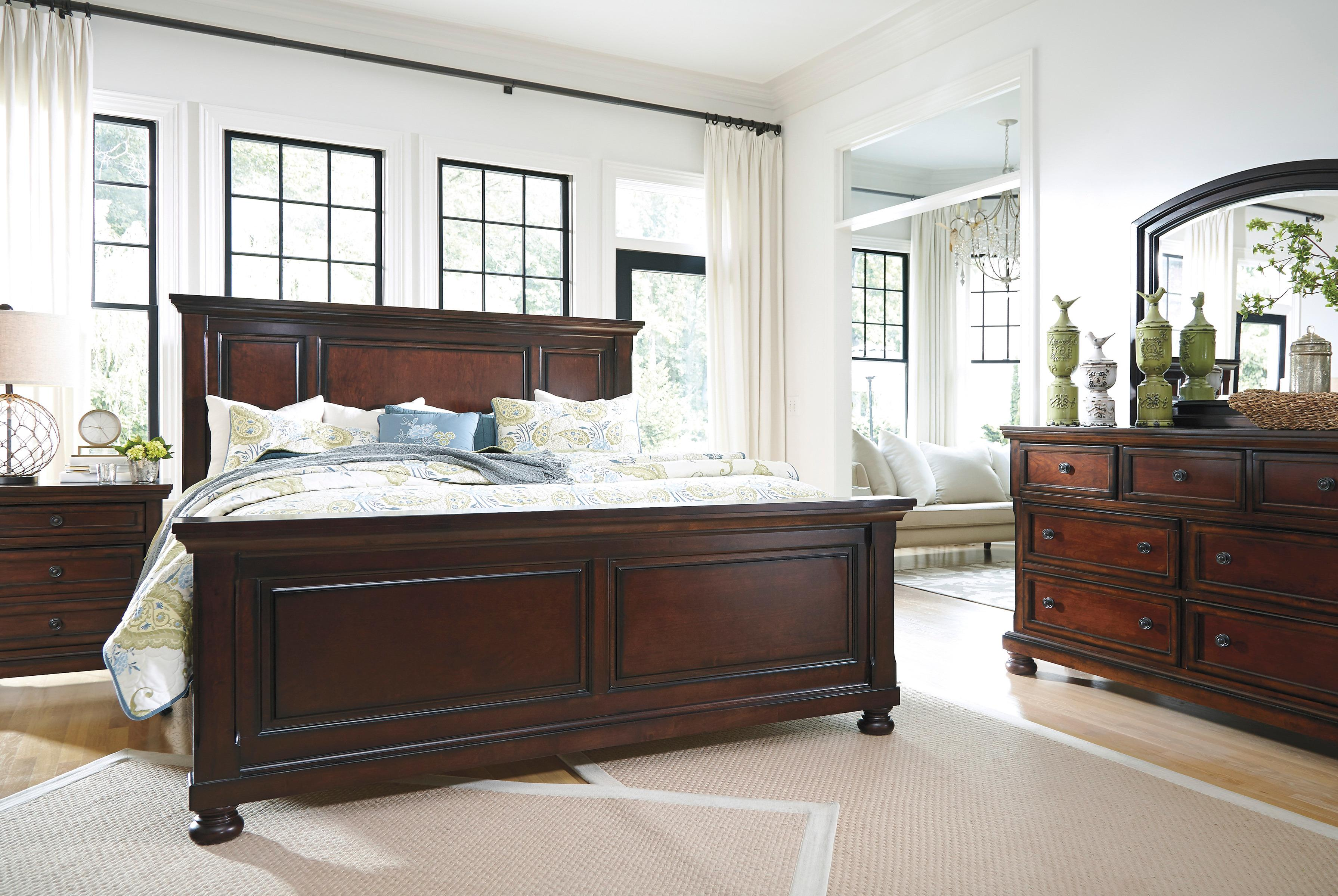 The quality craftsmanship is clear to see. The classic design elements—including bun feet—are easy to love. Satisfying your taste for vintage inspiration, the Porter king panel bed is elegant, without looking fussy. Mattress available, sold separately.