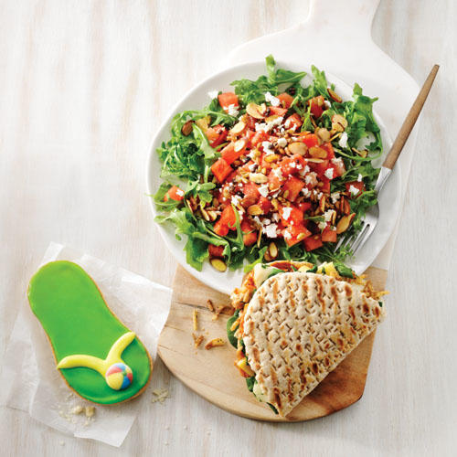 Try the new Watermelon Feta Salad, paired with a BBQ Chicken Flatbread and Flip Flop Cookie.