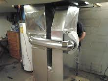 Custom sheet metal for furnace replacement (made onsite) installation included new humidifier and air cleaner