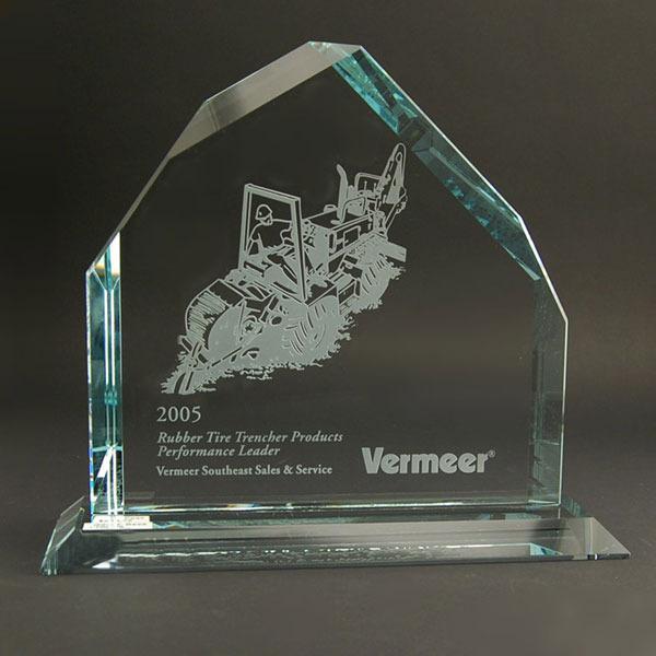 Sandblasted glass award