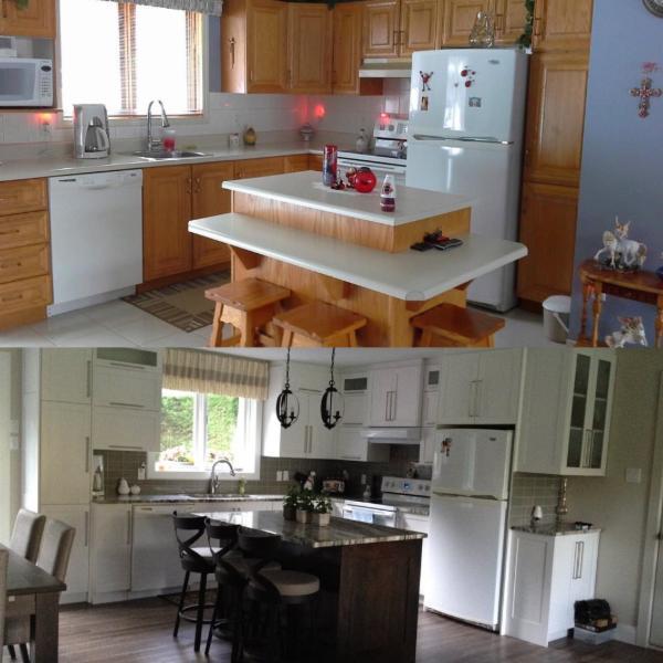 Lyne Dubois Décor à Sherbrooke: Avant et Après réalisation cuisine
