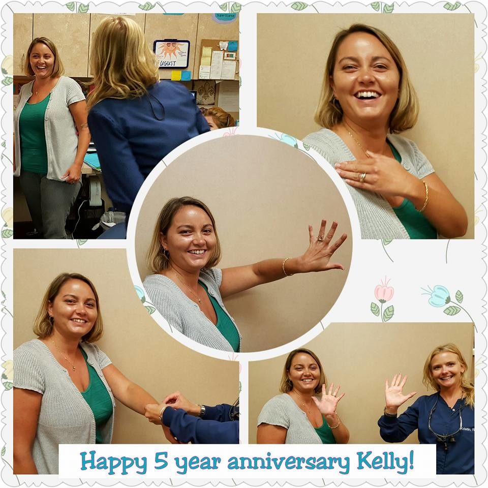 Happy 5 year anniversary Kelly! We appreciate all you do to keep our hygiene team strong. We hope you enjoy your bracelet!!
