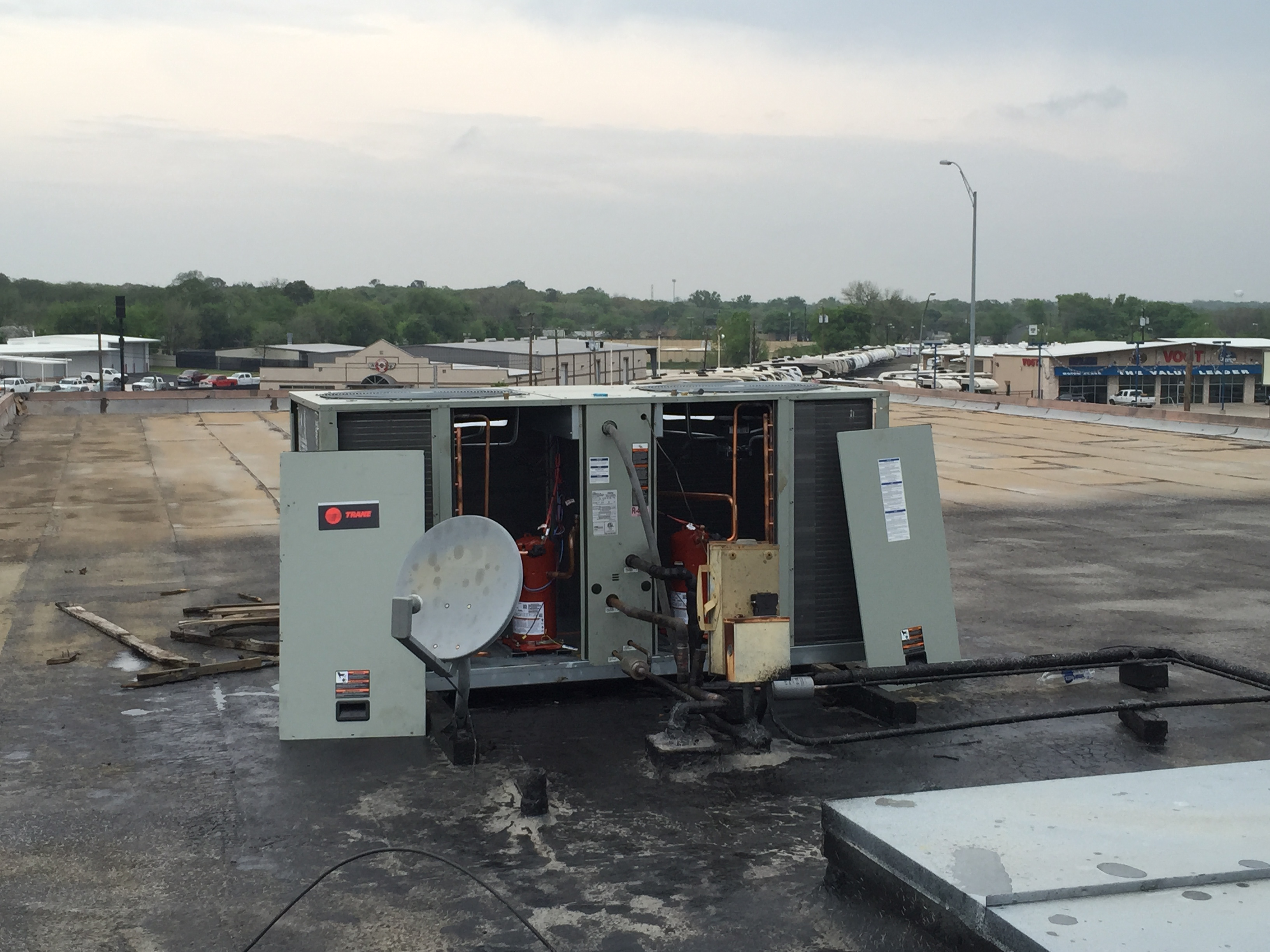 15 ton condensing unit we installed the third story roof