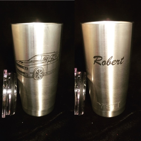 Stainless Steel 20oz Tumblers. Custom Engraved and permanent marked. Only $20 per cup. Any image you want.