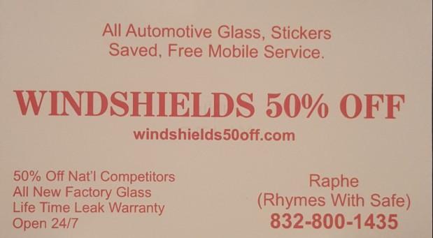 Windshield 50% Off image 0