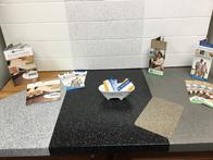 Counter top with tile backsplash.