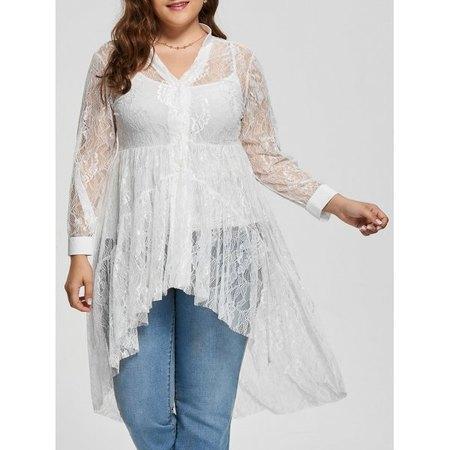 Lace High Low Long Sleeve Plus Size Blouse #1002 $15.92,  XL, 2X, 3X,4X,5X