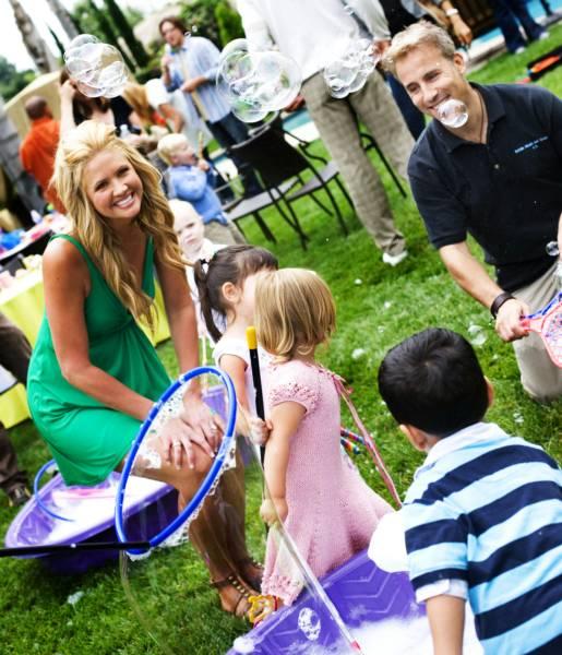 Nancy O'Dell outdoor bubble party