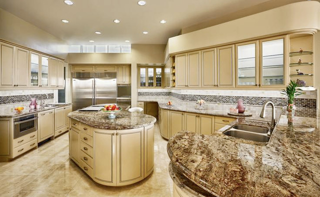 Light Travertine Tile White Kitchen Counters Granite Quartz Top