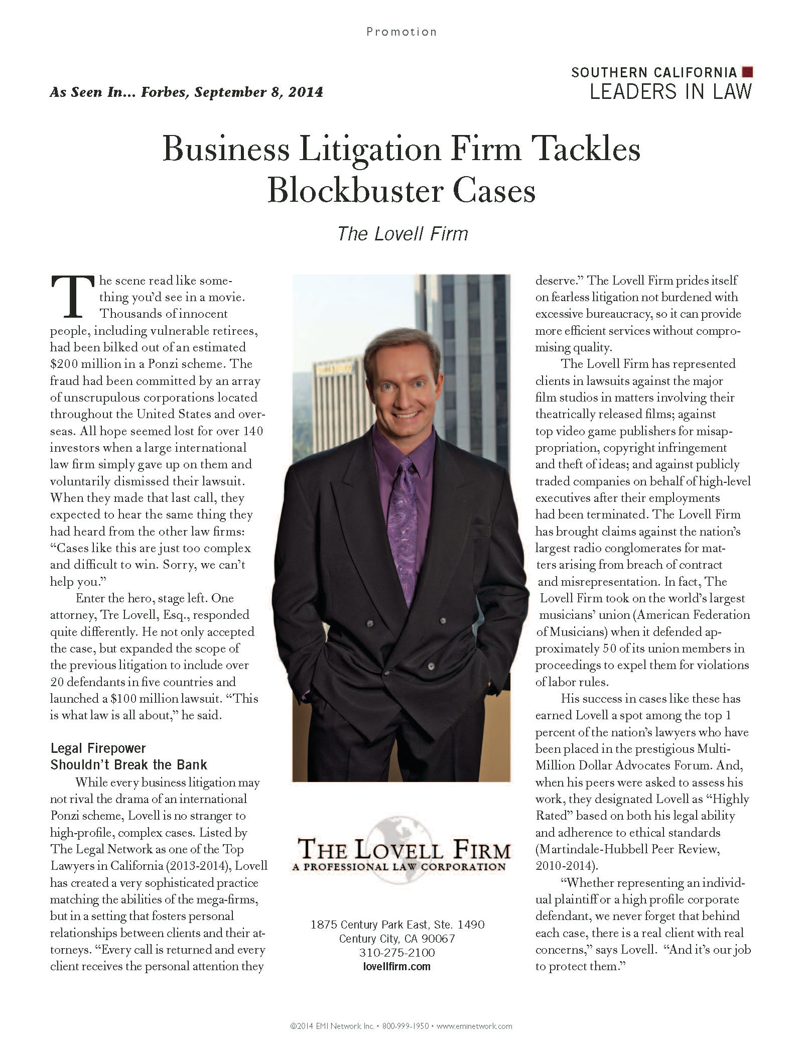 Featured in Forbes Magazine, September 8, 2014