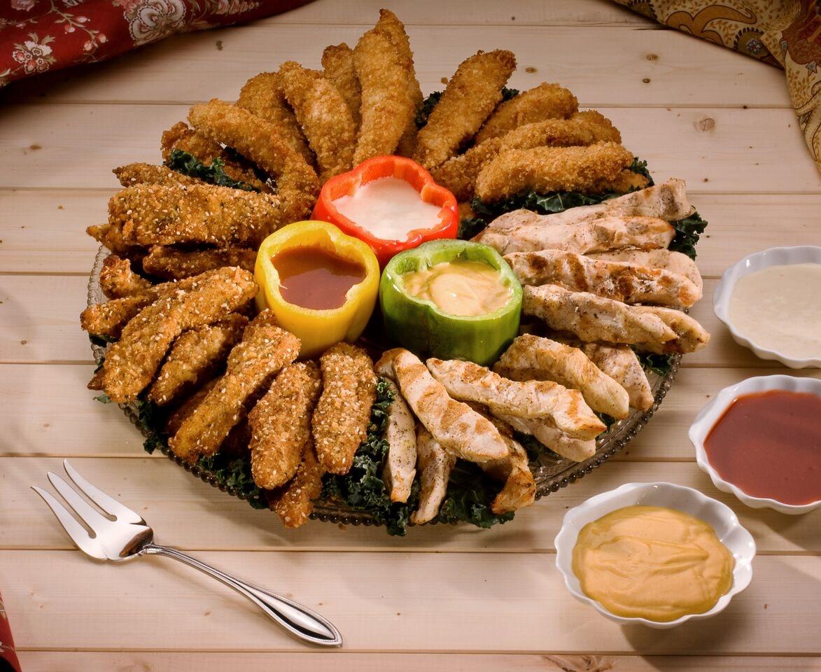 Our Chicken Dipper platter is a crowd pleaser.  Grilled, crispy and sesame chicken with bbq, honey mustard and horseradish dipping sauces.