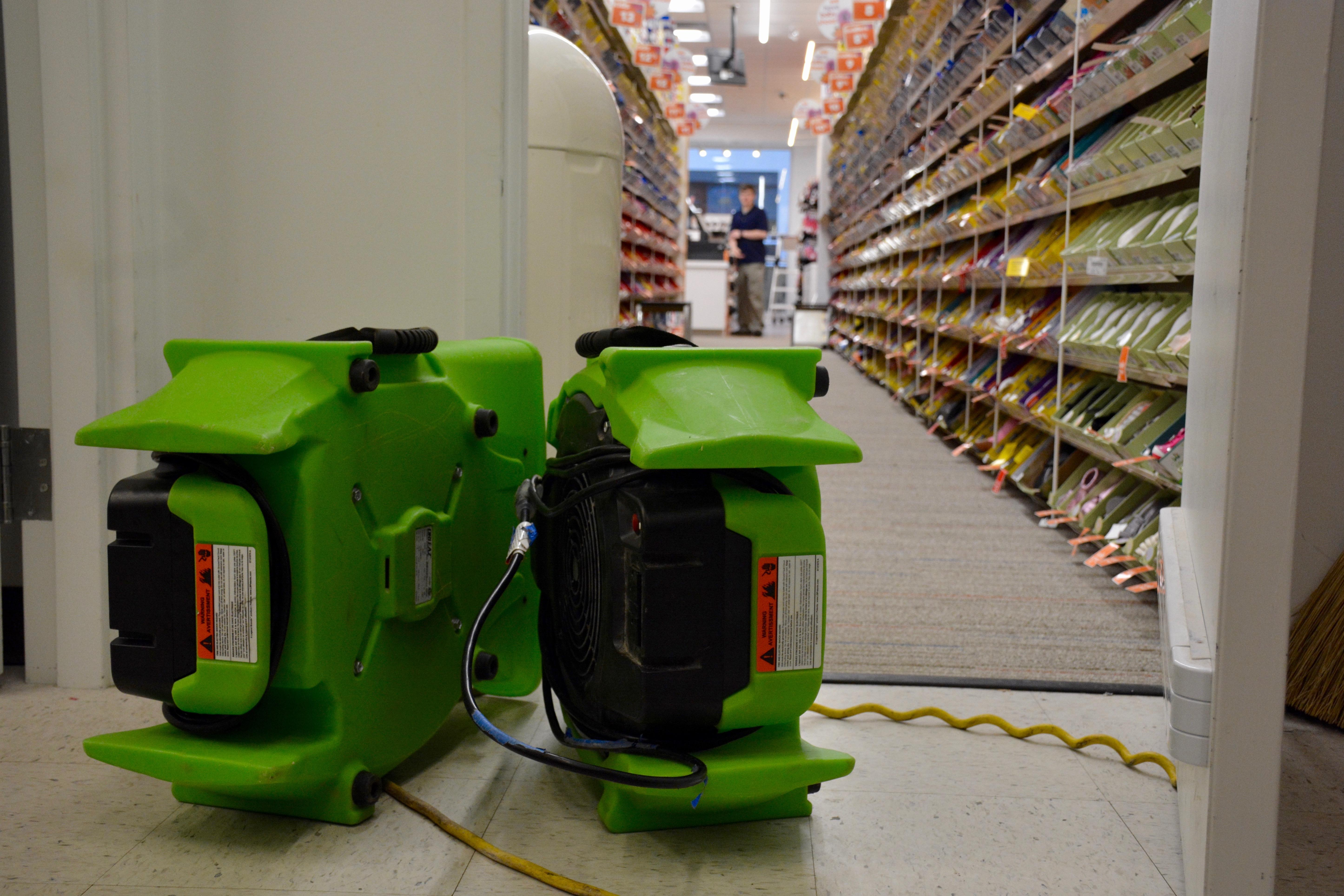 The air movers are up and running during a commercial restoration.