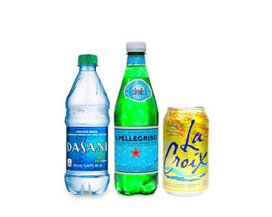 A bottle Dasani Water, a bottle of San Pellegrino Sparkling Water and A Can of Lime La Croix Sparkling Water offered by City Burger Co.