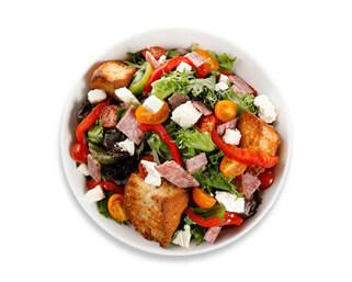 Bowl of the Panzanella salad made by P.ZA Kitchen.