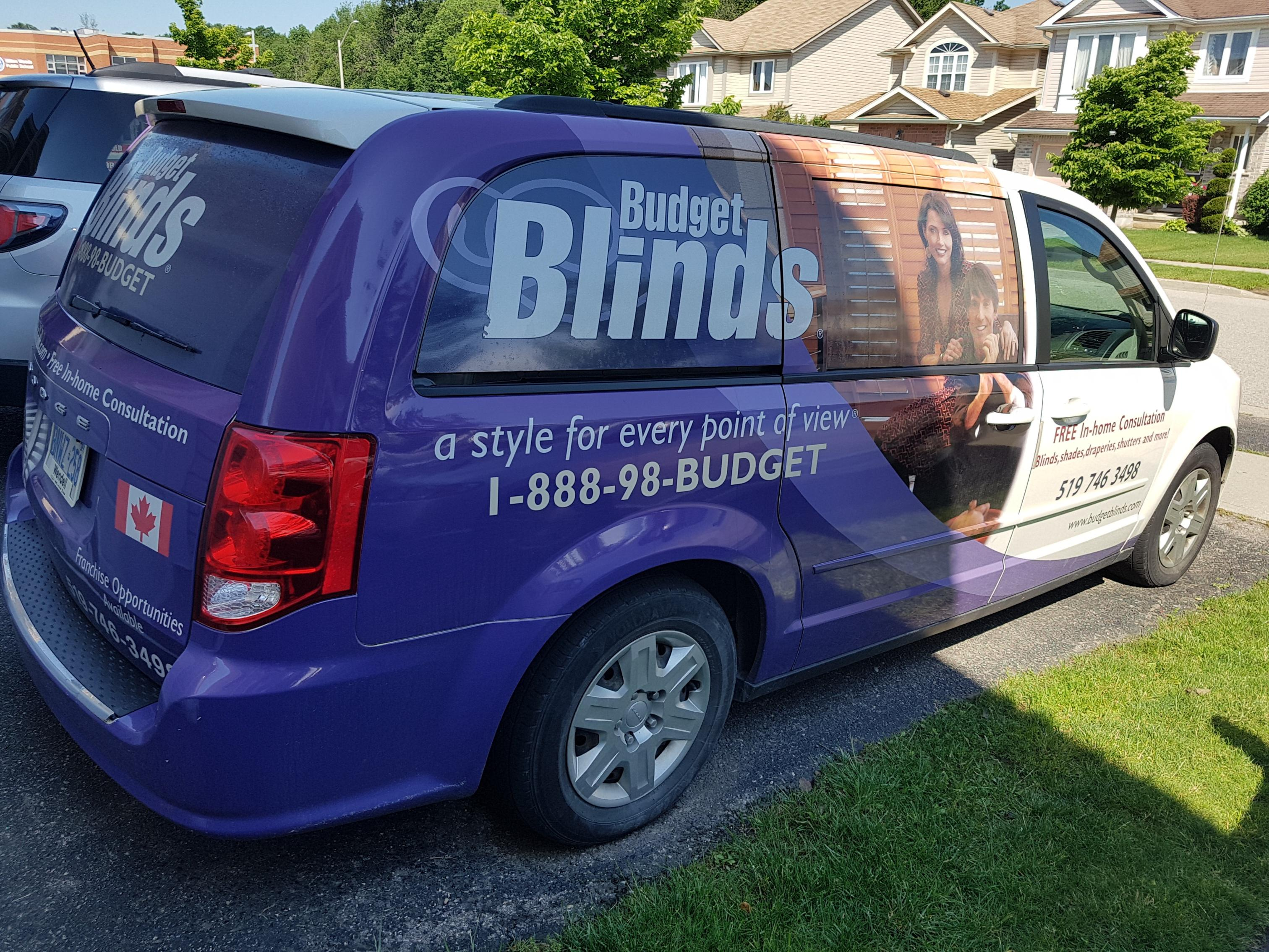 Budget Blinds à Waterloo: Our vans are like a mobile showroom. Rather than selecting colours and finishes in a store and then wondering if they will work with the lighting, paint and furniture in your home, we eliminate all of the uncertainty by bringing the samples to you. Convenience and peace of mind.