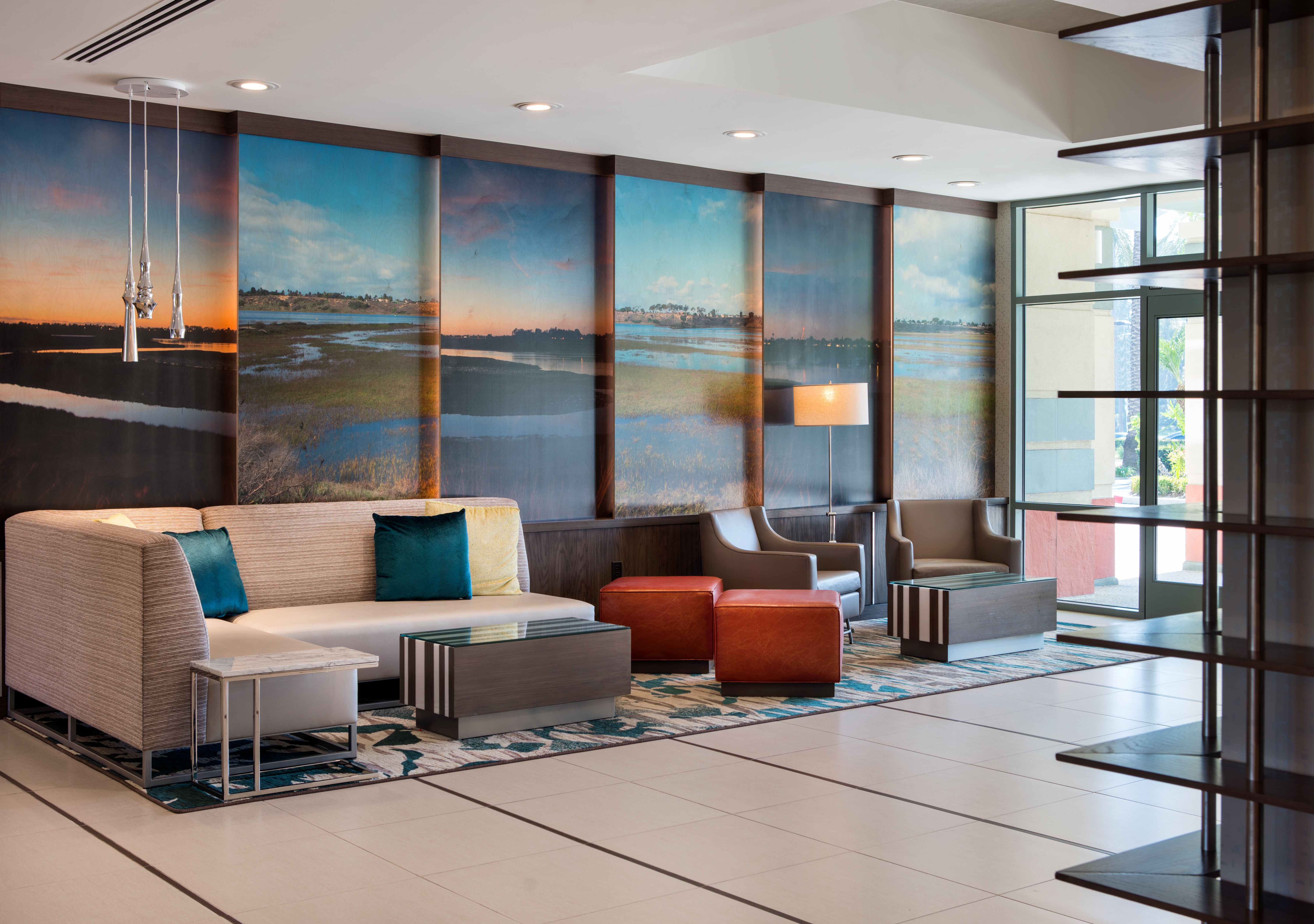 Lobby - Along with our spacious dining area and meeting spaces, our lobby now sports a fresh, modern design to help you maintain your pace and thrive during extended stays in Southern California.