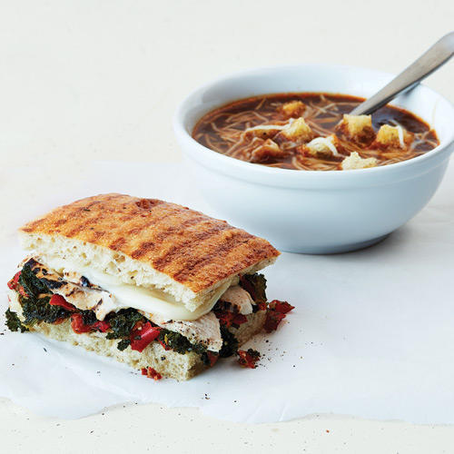 Enjoy the returning favorite Roasted Turkey & Caramelized Kale Panini, paired with the Bistro French Onion Soup.