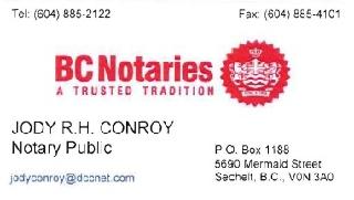 Jody Conroy Notary Public in Sechelt