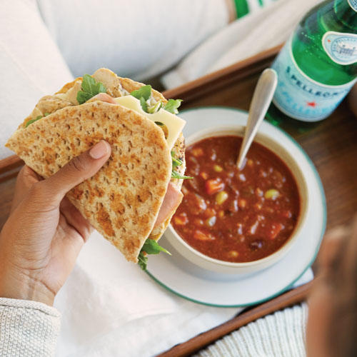 Try the new Chicken, Ham & Swiss Flatbread paired with All-Natural Turkey Chili.