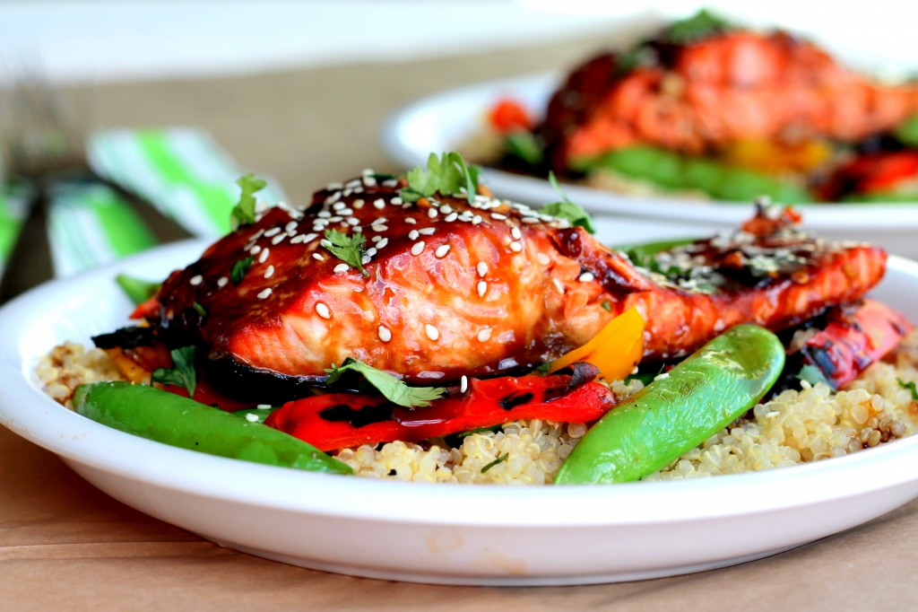 Salmon filet lightly marinated in teriyaki sauce, grilled & served ...
