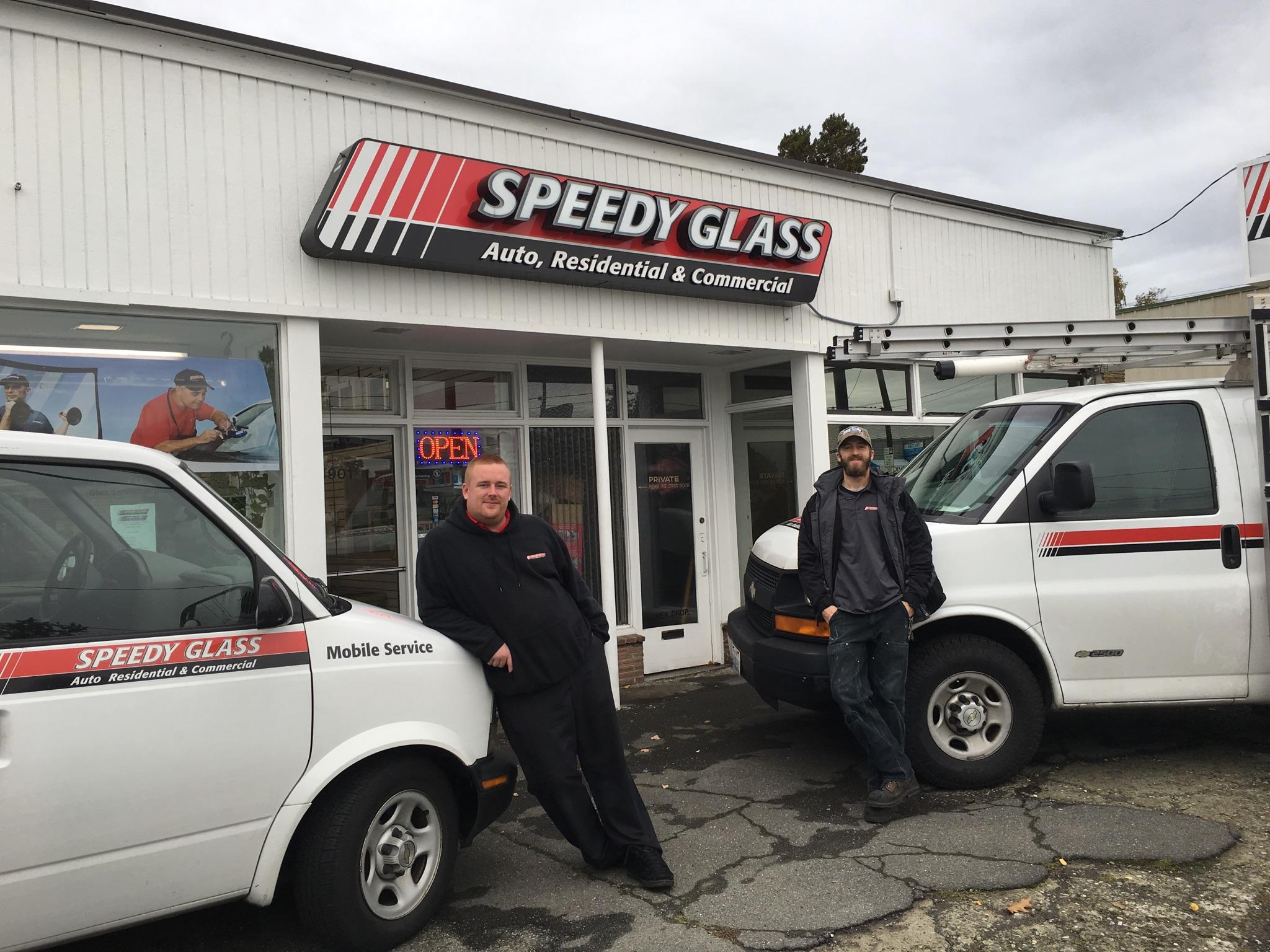 Shane Andersen on the left has worked at Speedy Glass for 3 years he is our inshop auto glass technician and Tim Moore on the right has been with us for 1 year this coming December and is our Glazier.
