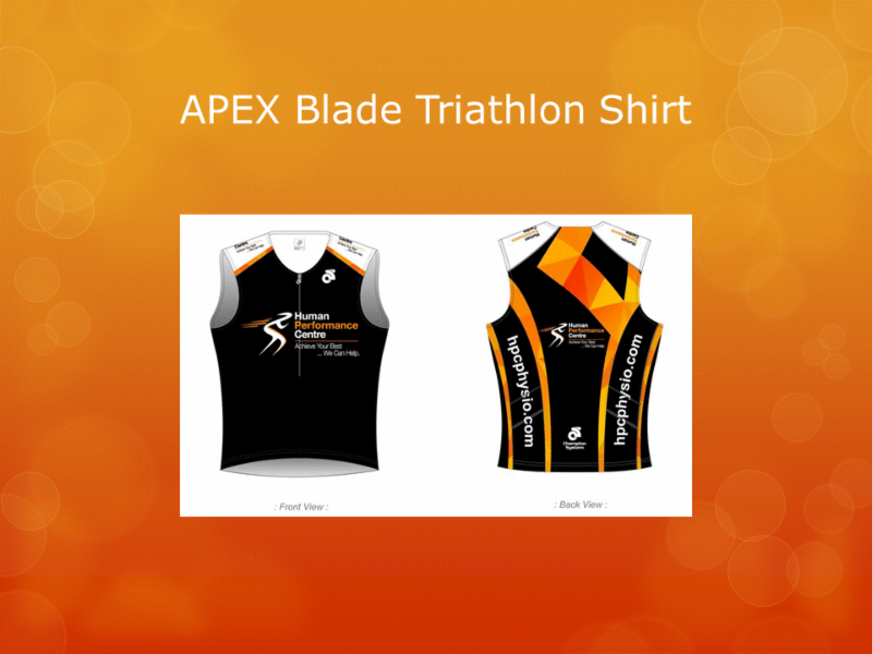 Human Performance Centre in Saint John: Are you in need of some HPC active wear? We can help!   Here is our APEX Blade Triathlon Shirt.