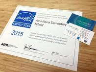 One of the 2015 ENERGY STAR certifications earned by Hawaii Public Schools' Aina Haina Elementary School, benchmarked and certified by ENERGY STAR Service and Product Providers (SPP) Momentum Bay Associates LP and Engineering Economics Inc.
