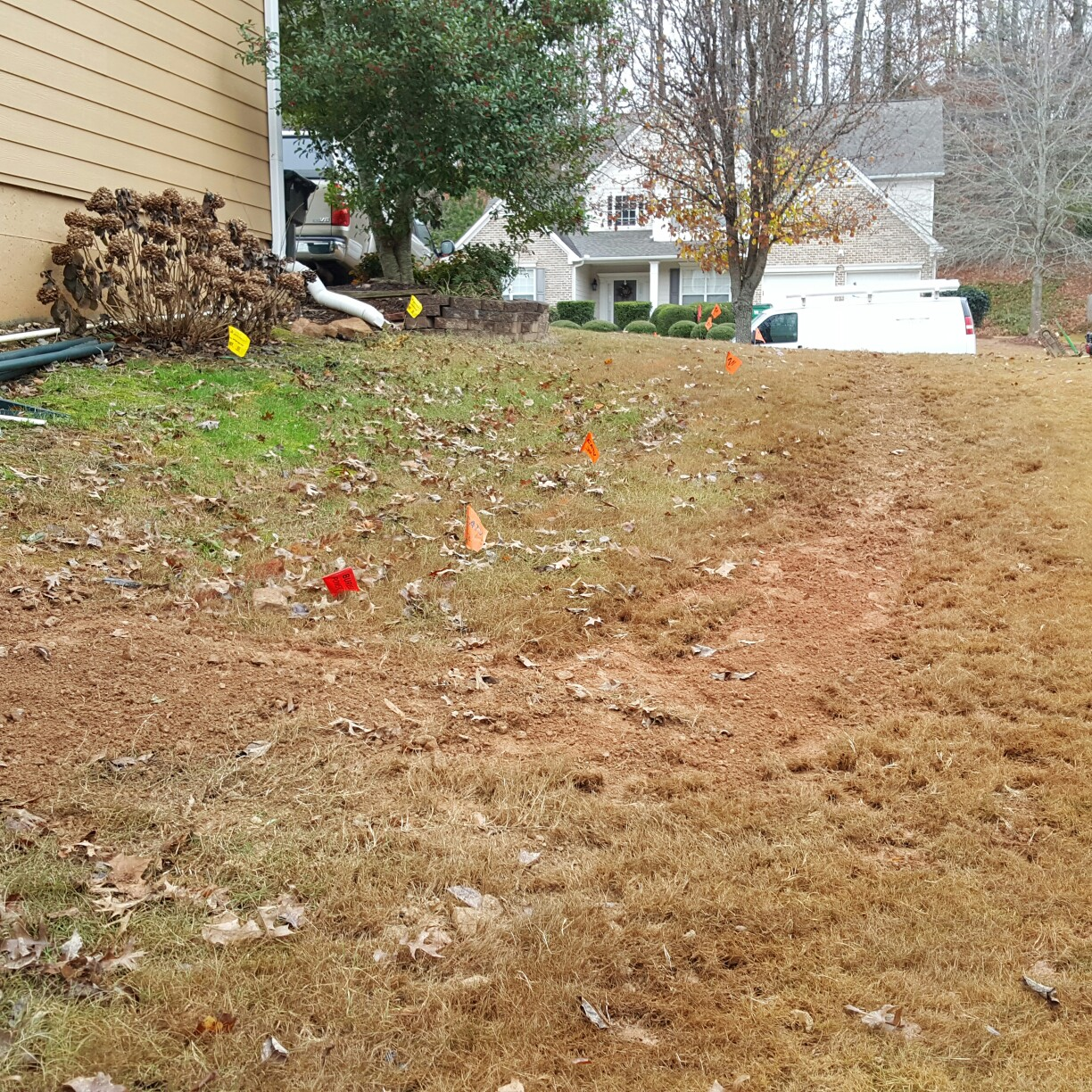 This is how the yard looks after a new water line was installed.