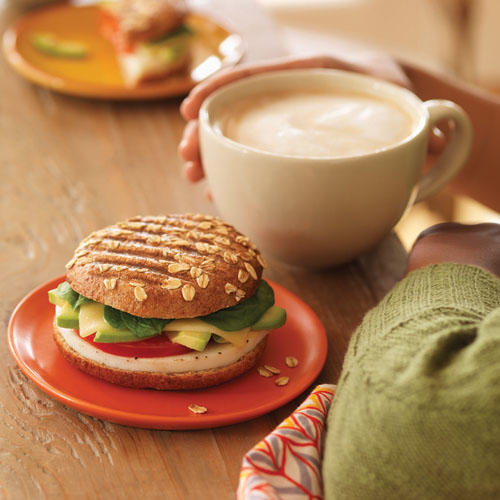 Try an Avocado, Egg White & Spinach Breakfast Power Sandwich and a Latte to start your morning.