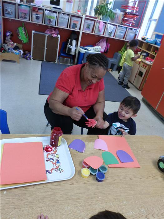 Finger painting in the Discovery Preschool classroom!