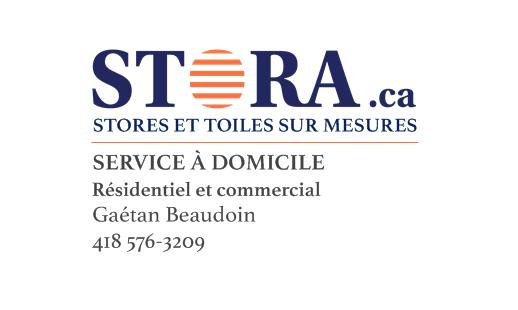 STORA.ca in Saint-Henri: Stores et toiles sur mesures Résidentiel et commercial Gaétan Beaudoin 418 576-3209 info@stora.ca  Site web à venir
