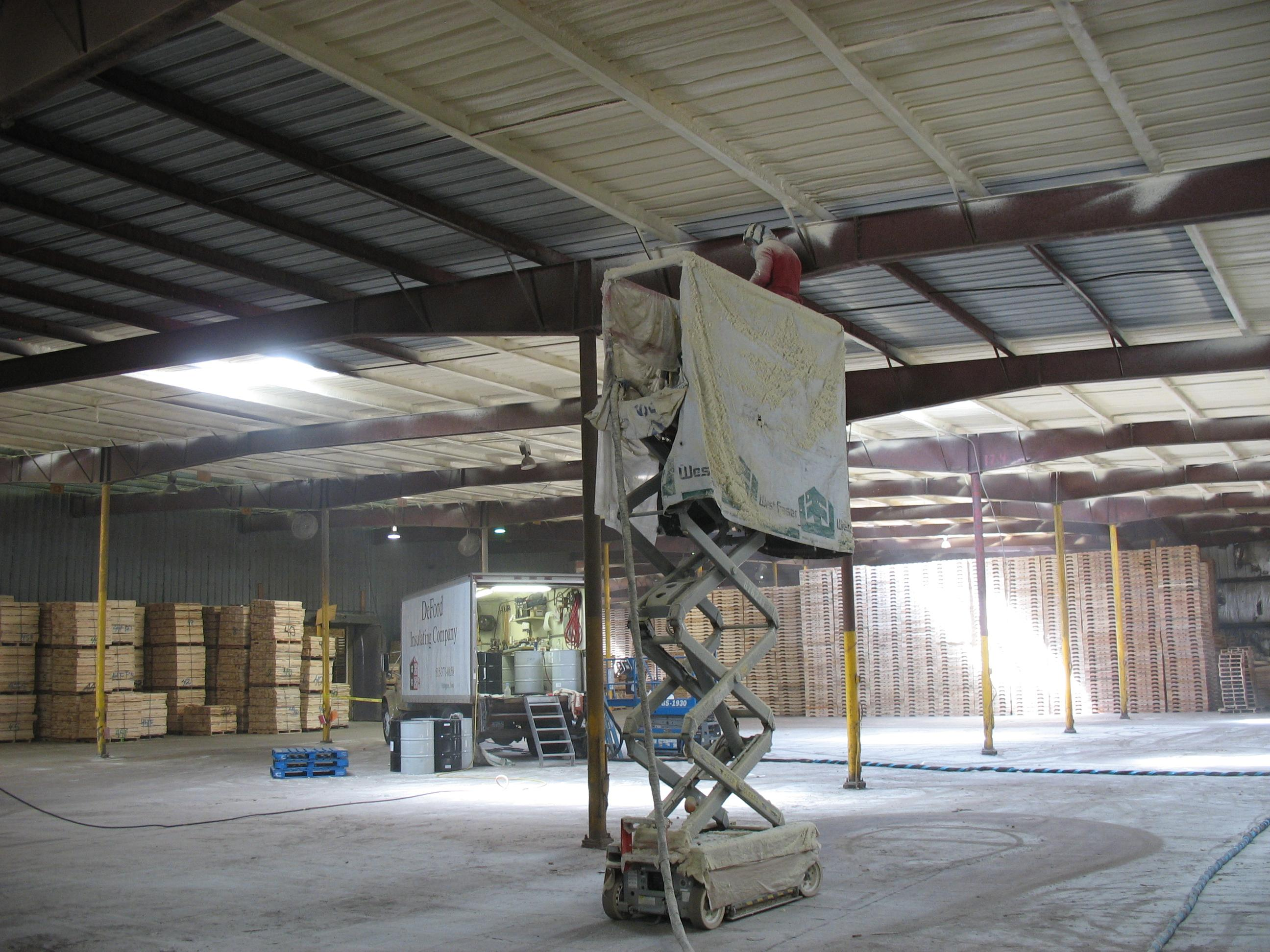 Spray Foam application for cold storage roof to prevent condensation on roof steel.