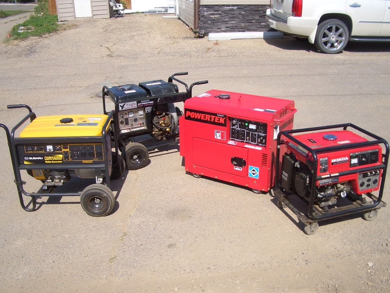 Rental Pro in Lacombe: Some of the generators we have ready to go to your site.