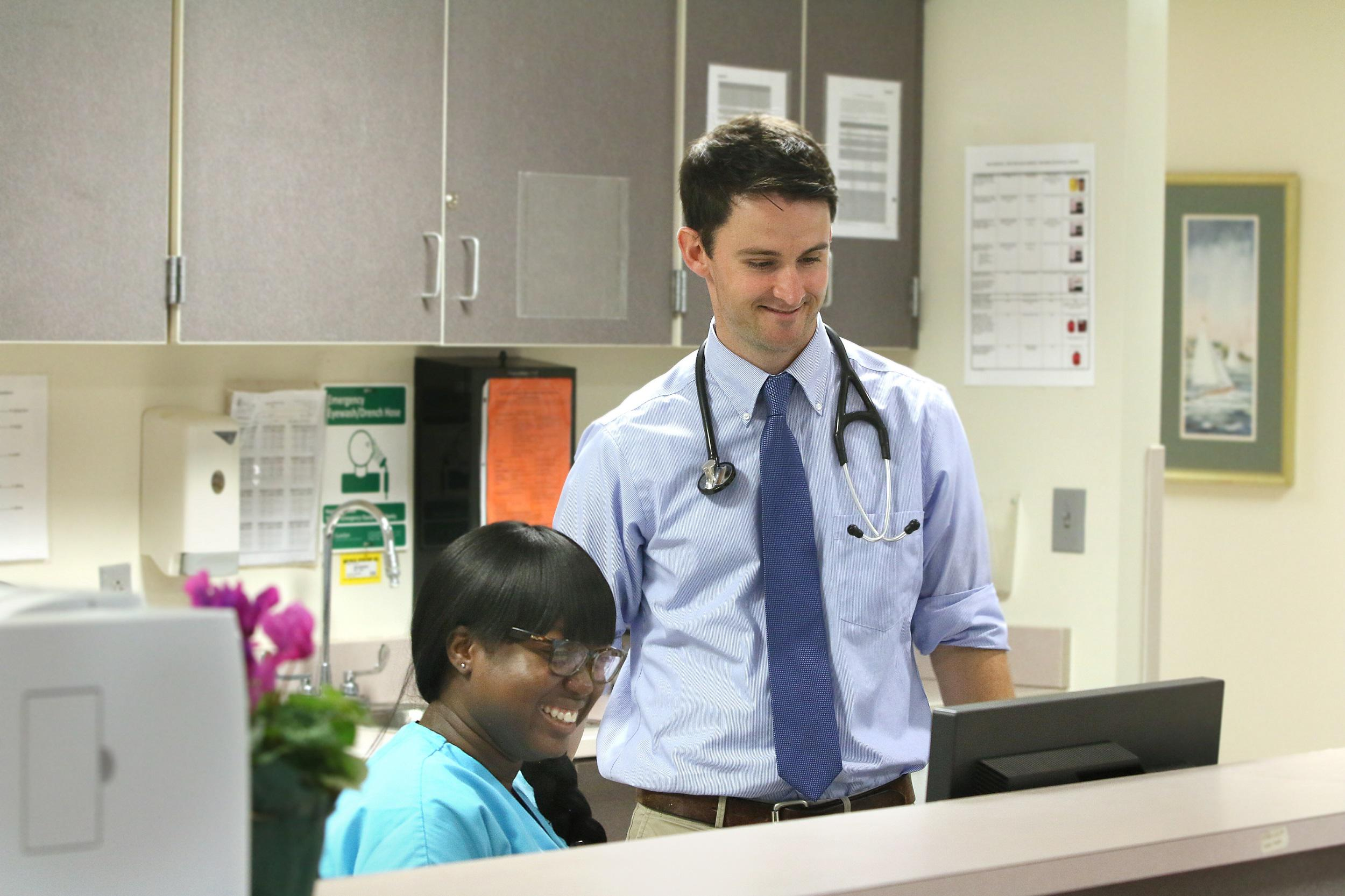 Andrew Schreiner, M.D. in clinic at MUSC Health University Internal Medicine - Rutledge Tower