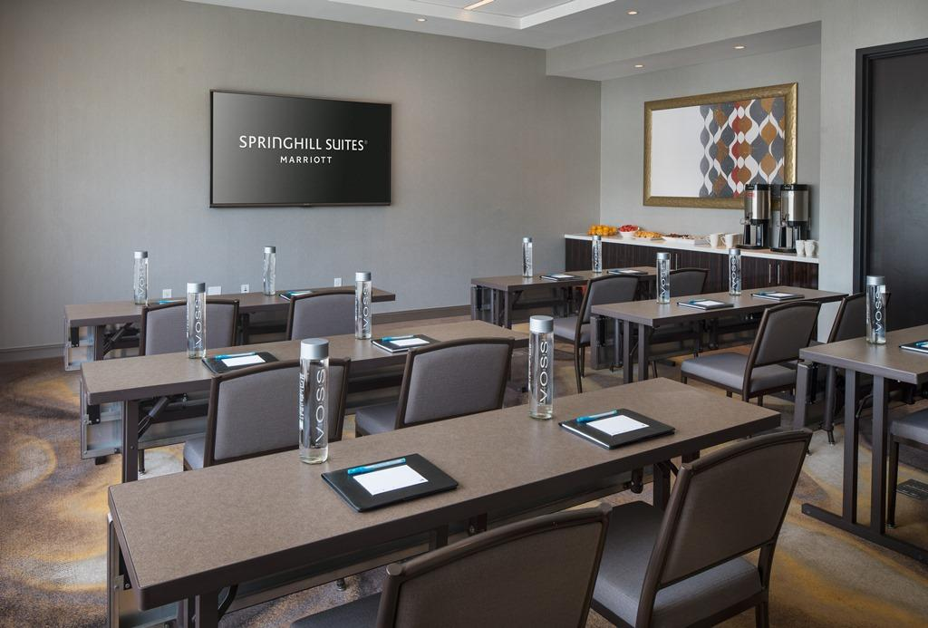 Meeting Room Classroom Setup -  This customizable layout is the ideal design for training sessions and intimate seminars alike. Show your appreciation for your guests by treating them to our delectabl