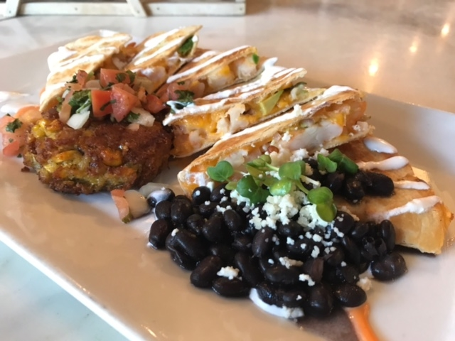 Smoked Chicken QuesoFrescoDilla with Pasilla Black Beans and deep Fried Sweet Corn Risotto