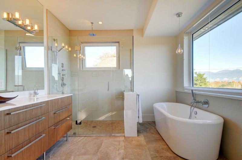 Island Glass & Mirror in Richmond: Four panel shower and mirror.