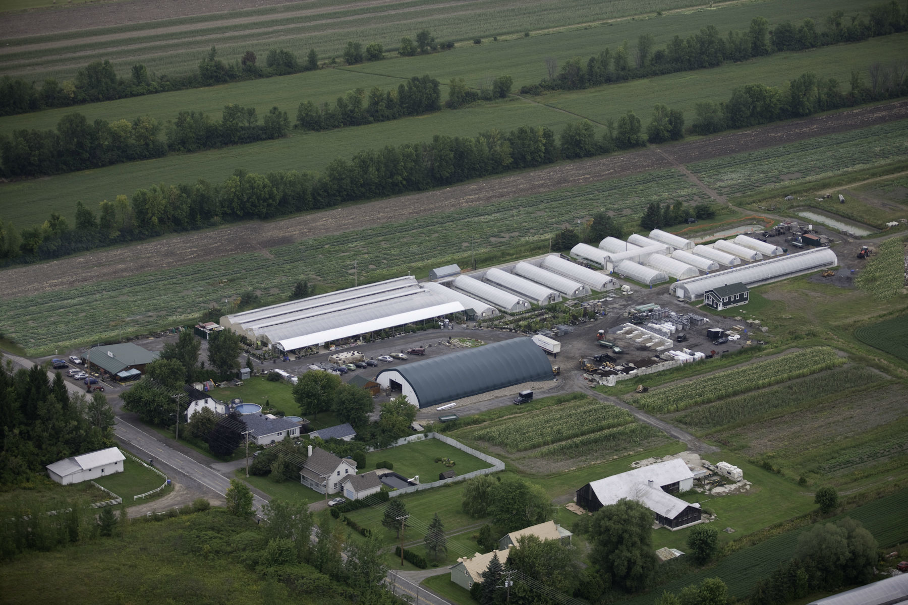 Les Serres Vaudreuil Inc in Vaudreuil-Dorion: Aerial picture of are business.